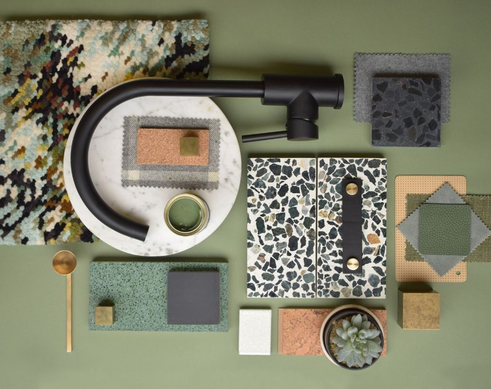 Green kitchen moodboard ctreated by designer Lindsey Lang