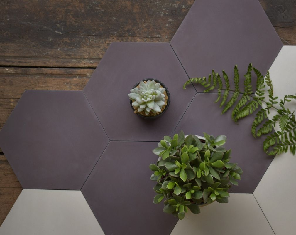 Hexagon encaustic cement floor tiles designed by Lindsey Lang