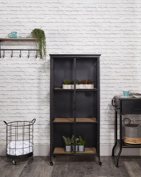 Melody Maison industrial black metal cabinet on castors