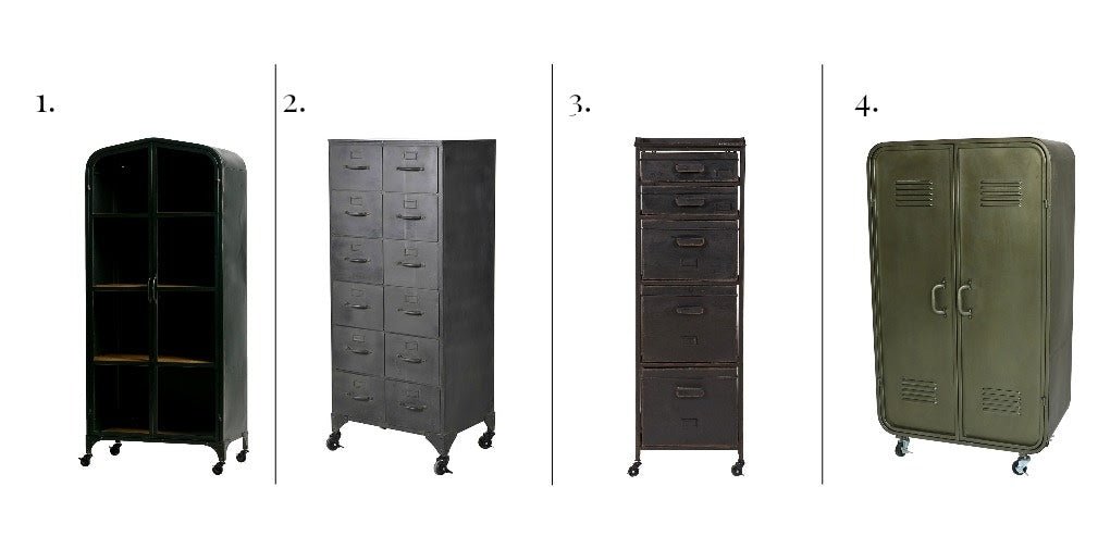 A selection of 4 Industrial style metal cabinets on castors