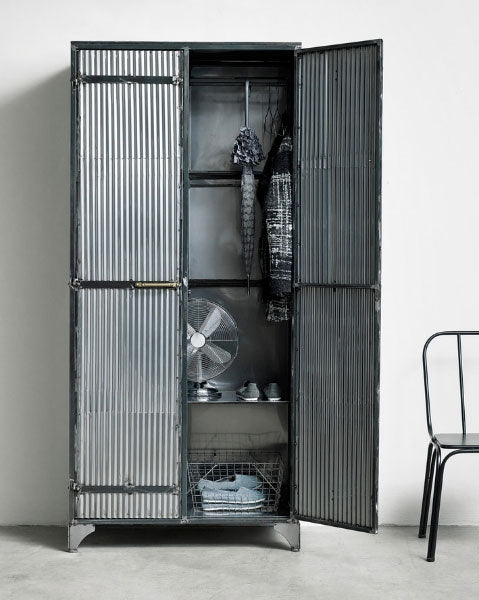 Out There Interiors Corinda Large Corrugated Metal Cabinet
