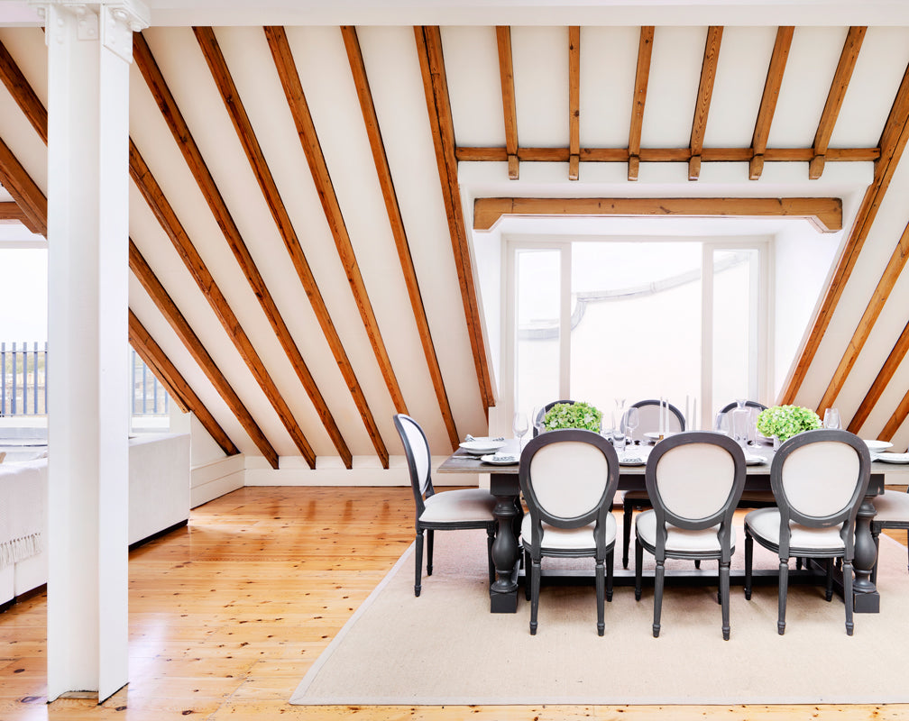 Penthouse Observatory industrial conversion for sale sloped ceiling and exposed timber beams