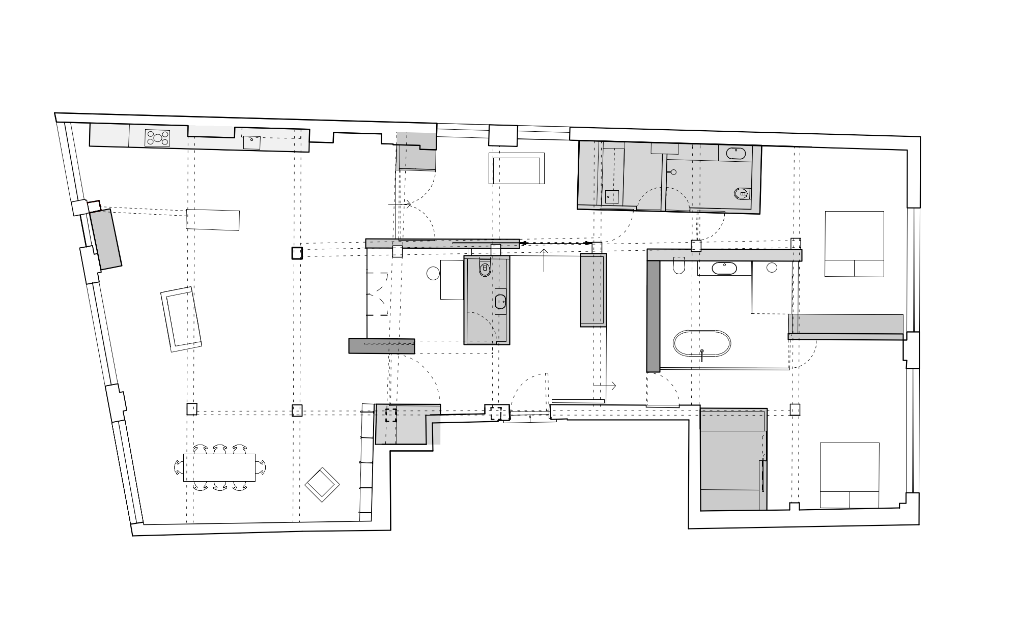 Architectural rawing for a converted warehouse home in Clerkenwell by William Tozer Associates