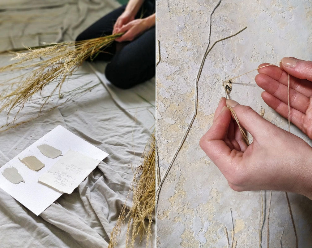 Vacarda Design uses a unique pliable plaster technique and experiments with dried grass to create extra texture