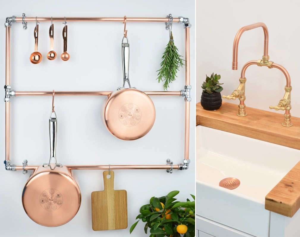 Proper Copper's copper and chrome pan rack and Siene tap are eyecatching designs for the kitchen