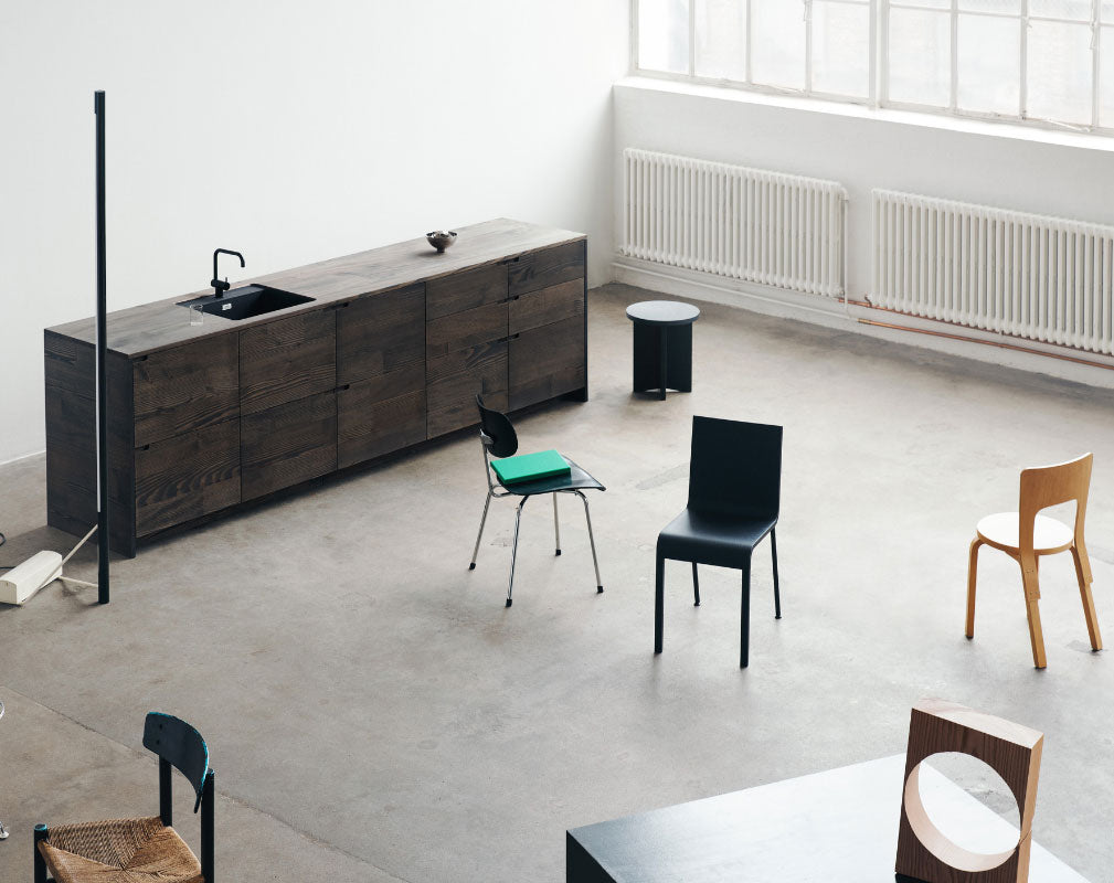 Reform created UP sustainable kitchen in collaboration with Lendager Group using surplus wood flooring planks from Dinesen