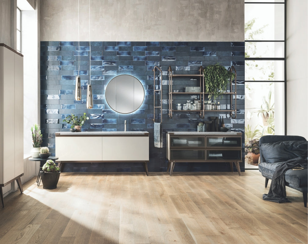 Open Worrkshop Industrial Style bathroom by Scavolini and Diesel Living against a blue tiled wall