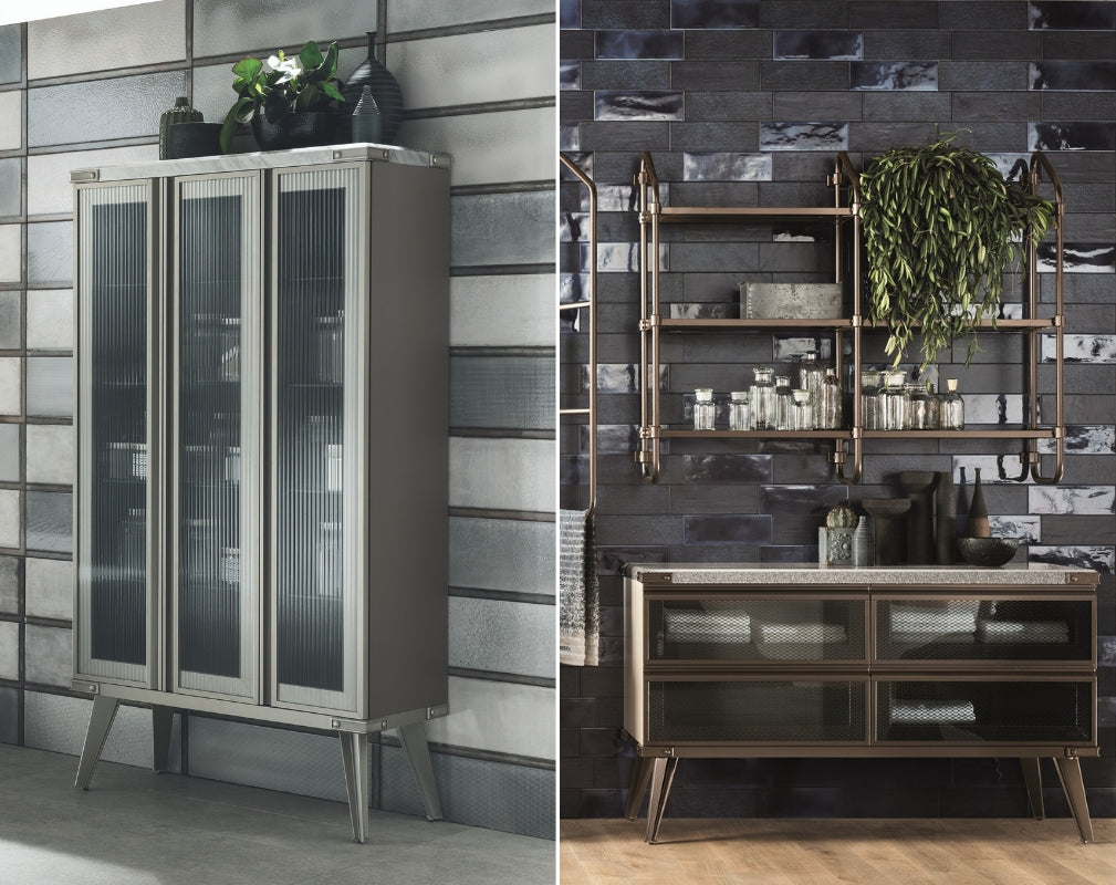 Open WOrkshop Industrial Style bathroom by Scavolini and Diesel Living features various storage optionsfrom large cabinets to open shelving