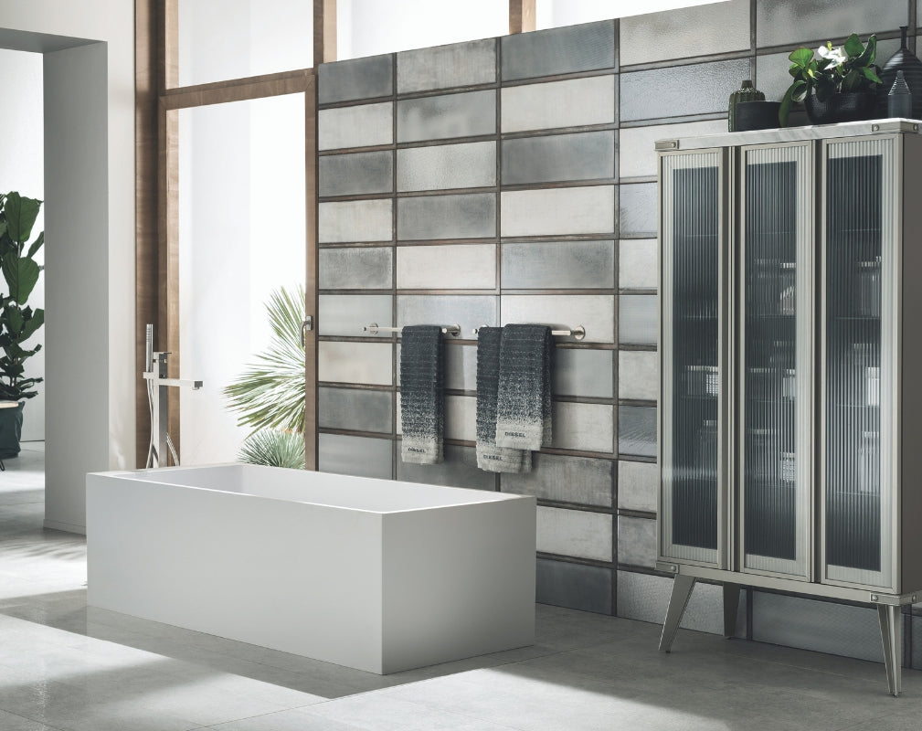 Open Workshop industrial style bathroom featuring a large 3-door display cabinet
