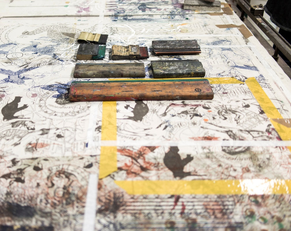 Screen printing equipment laid out on the table in designer Daniel Heath's London Studio