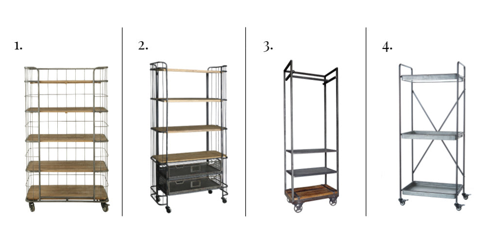 A selection of four industrial style metal shelving units on castors