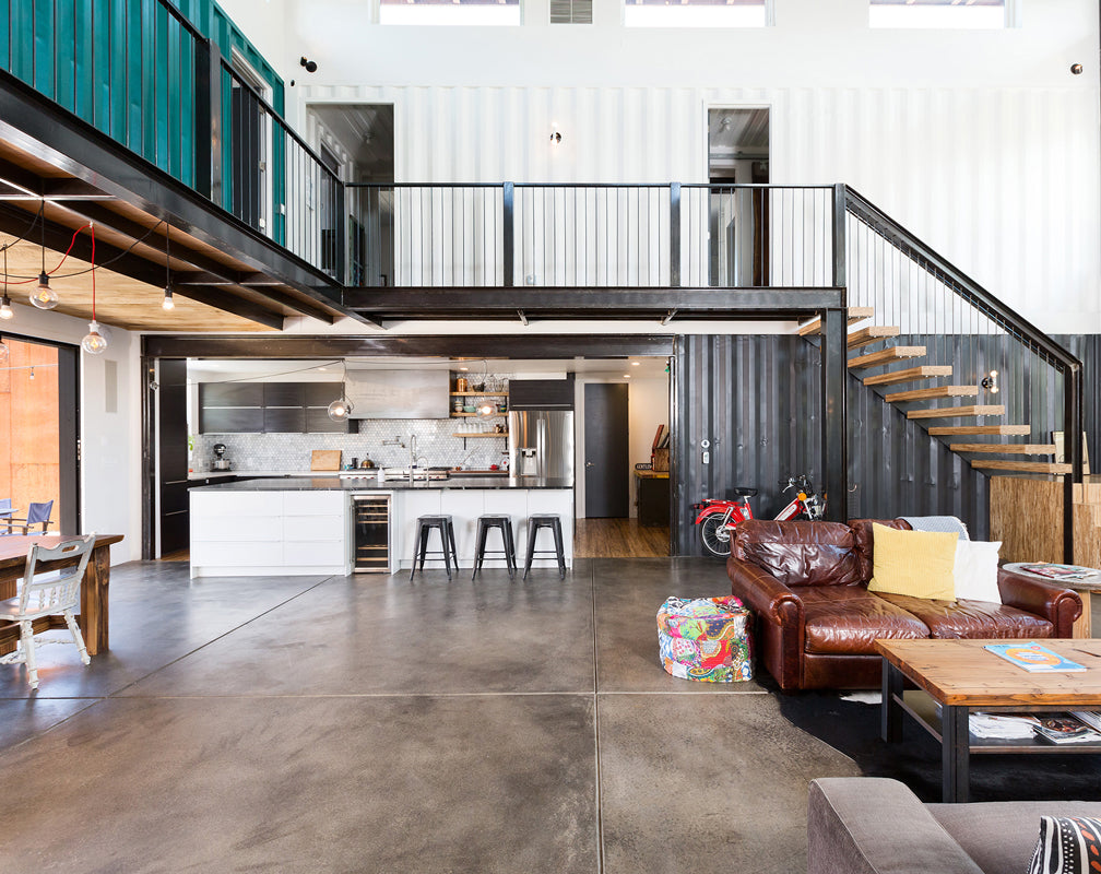 Shipping-container-industrial-style-home-living-area-kitchen-warehouse home