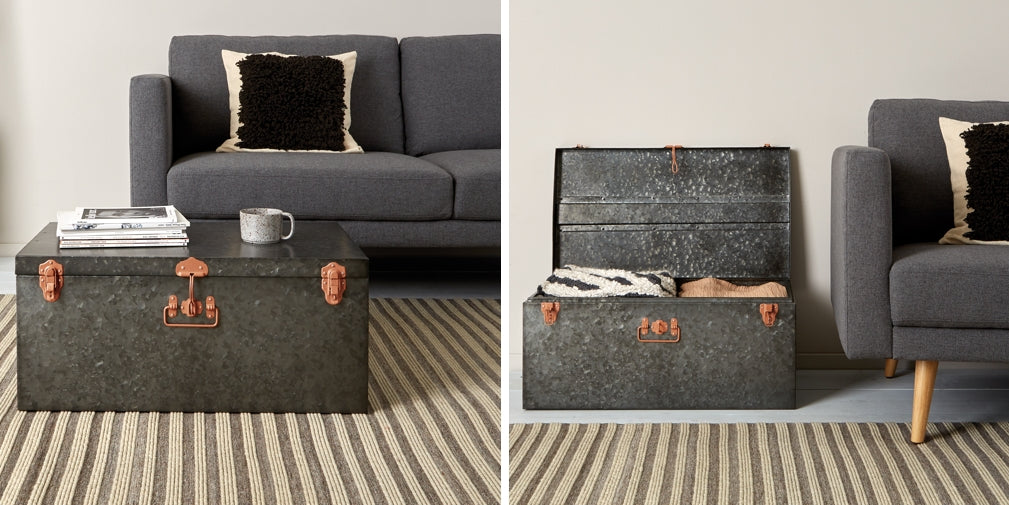 The Carter Extra Large Dark Grey Galvanized Metal Storage Trunk from Habitat doubles as a coffee table