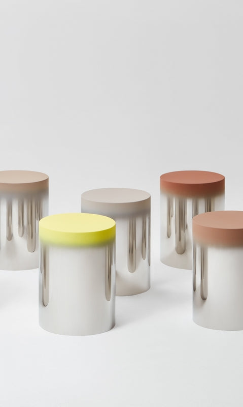 The Dokkaebi Stool in stainless steel by Jiyoun Kim Studio in different colour variants