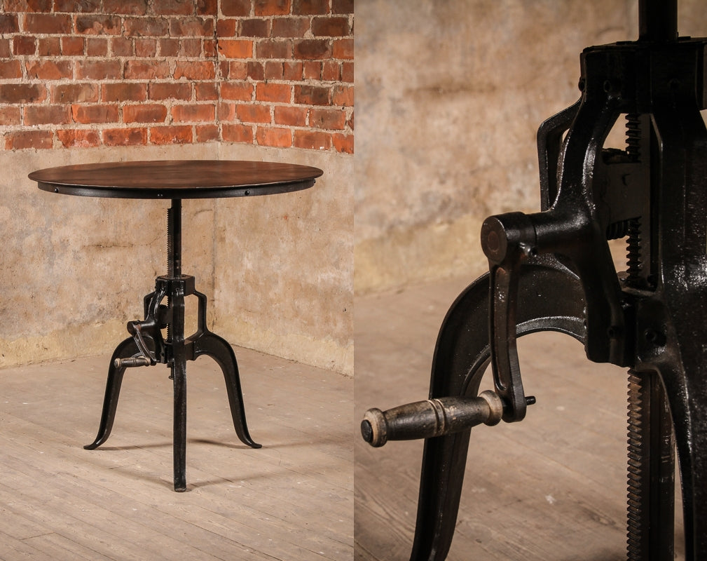 The Industrial Metal Atholl Crank Table from J.N. Rusticus with detail view of crank component