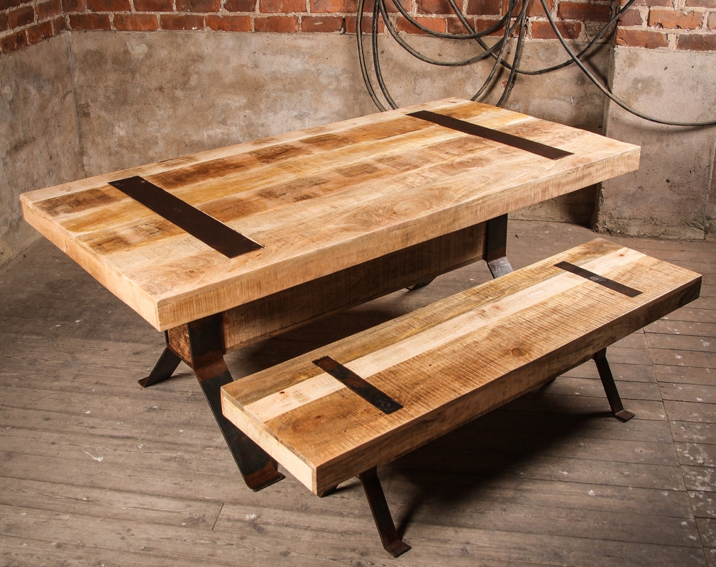 The Industrial Style Rustic Elk Dining Table and Bench from J.N. Rusticus