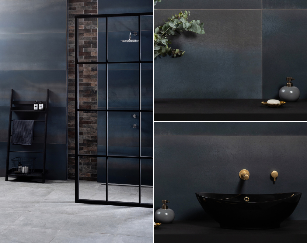 An industrial style bathroom featuring the Midnight Blue Tile of the Year 2019 from Original Style