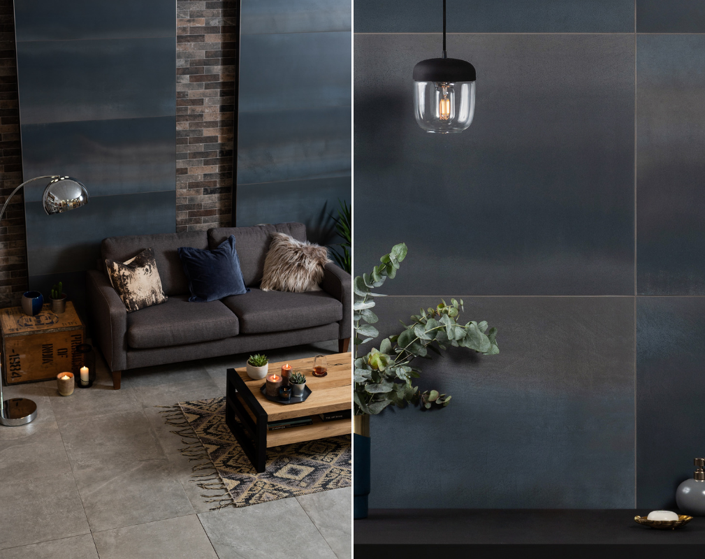 Industrial style living room featuring 2019 Tile of the Year Midnight Blue from Original Style