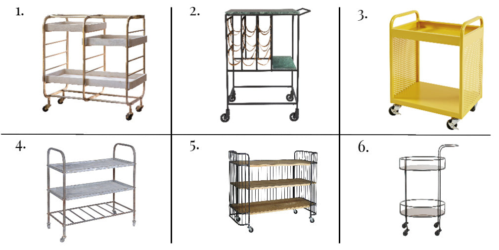 A selection of 6 industrial style metal trolleys on castors