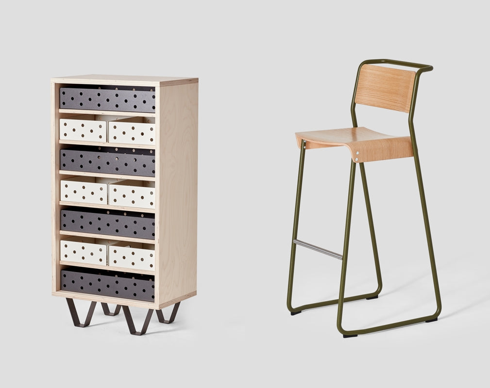 Very Good & Proper will showcase their Sled drawer unit and Canteen utility chair at designjunction