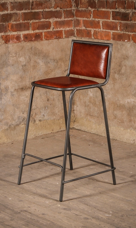 Vintage Leather Metal Acre Bar Stool from J.N. Rusticus