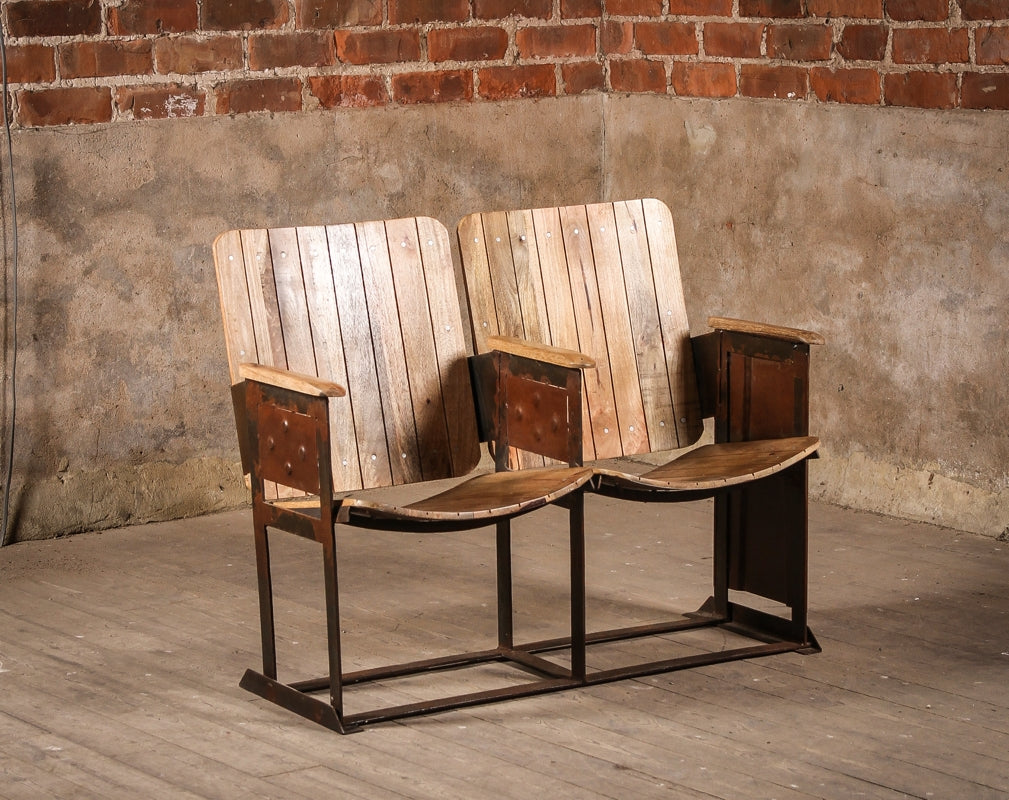 Vintage wooden Glencoe cinema chairs available from J.N. Rusticus