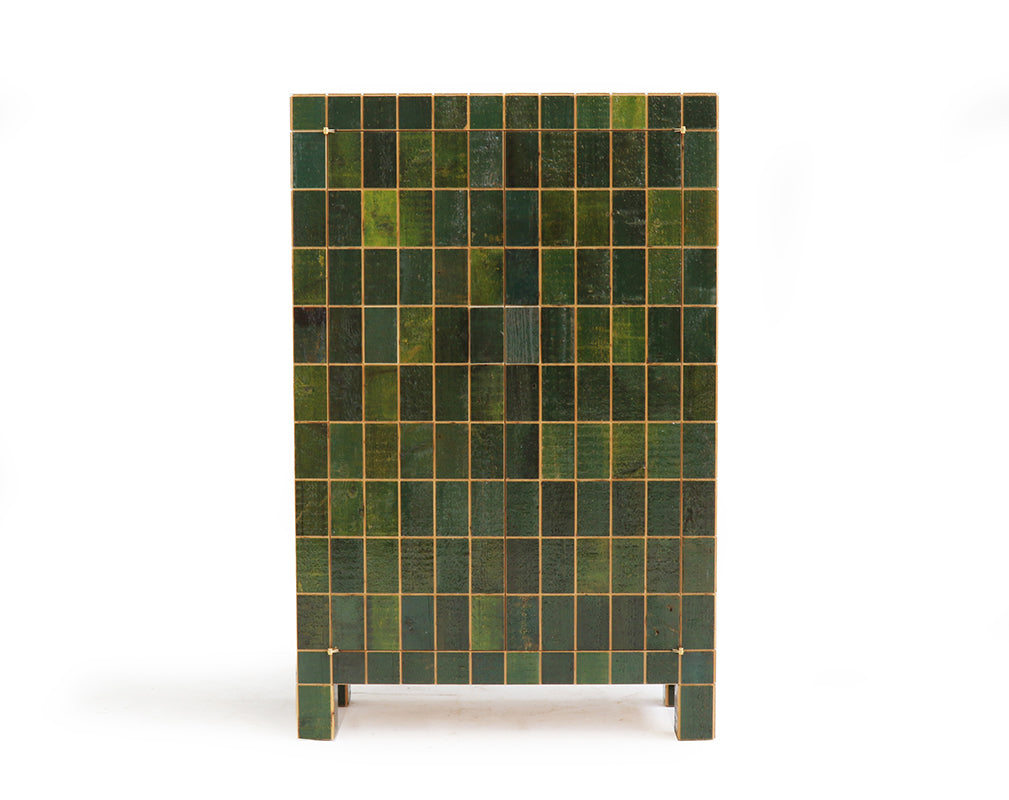 Inlaid cabinet made from reclaimed waste tiles by piet hein eek.
