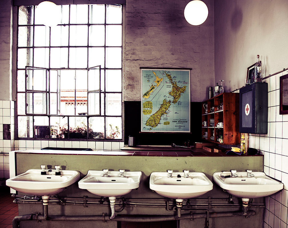 vintage map of new zealand in industrial style from erstwhile