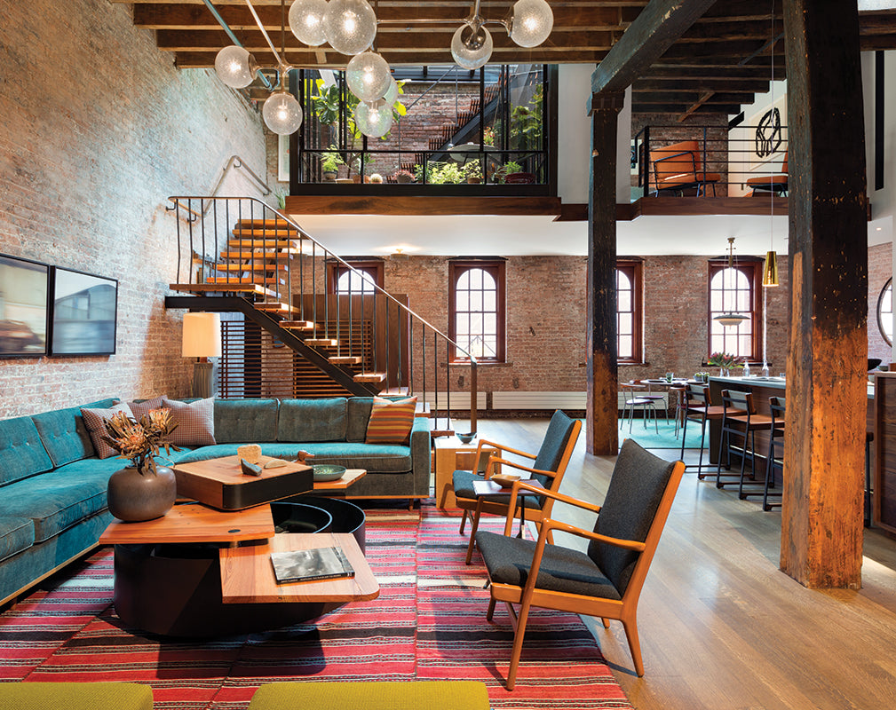 living room scheme in a new york warehouse conversion by andrew franz architects