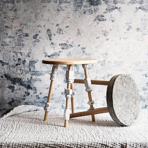 turned newspaper and pulped paper stool made from warehouse home