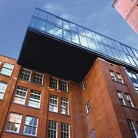 exterior of the jam factory by ian simpson architects brick and glass