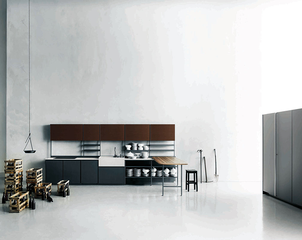 Salinas modular kitchen in industrial style by patricia urquiloa for boffi.