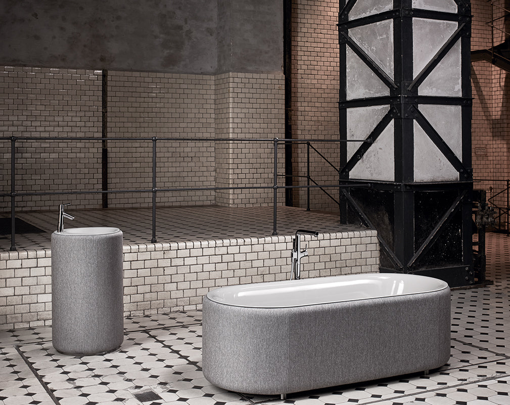 luxe bathroom furniture inside an industrial conversion