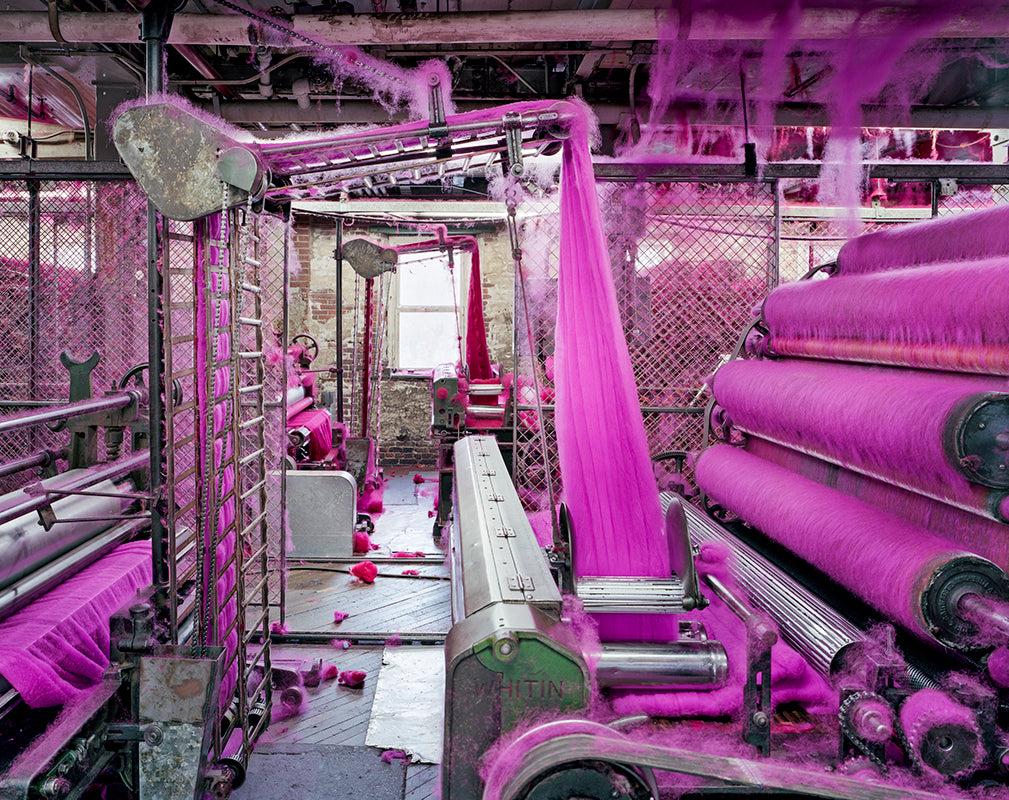 Vibrant wool fibres inside an abandoned textile mill in Massachusetts.