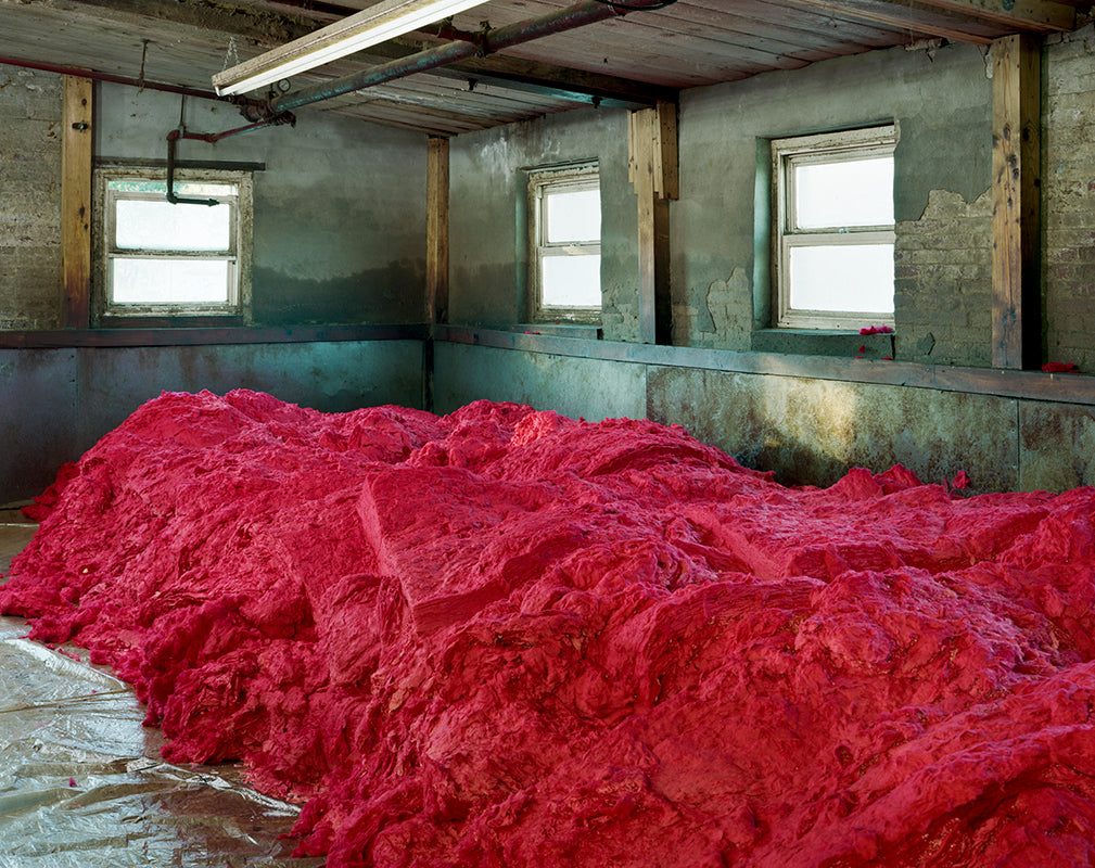 Dyed fibres are piled before spinning at S&D Spinning Mill, Millbury. Photography by Christopher Payne.
