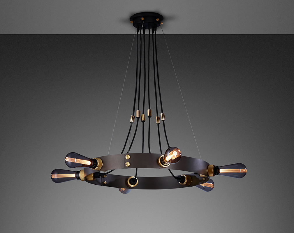 hero pendant light in graphite brass and smoked glass by Buster + Punch
