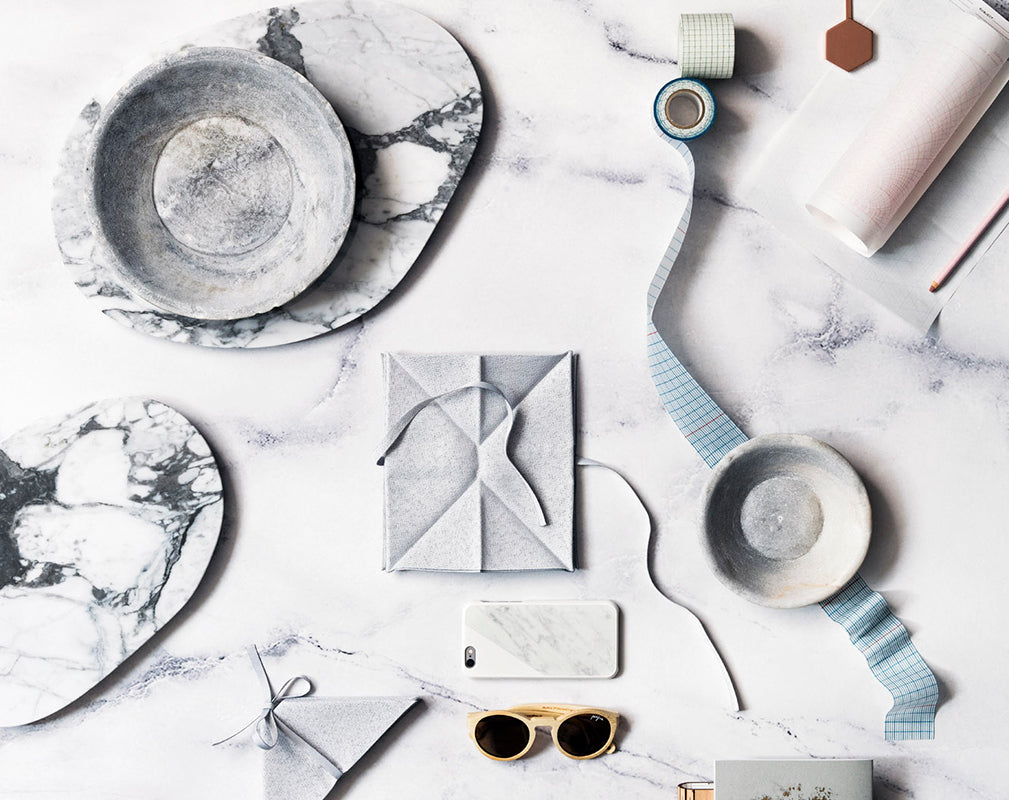 marble, concrete and grid interior designs and accessories