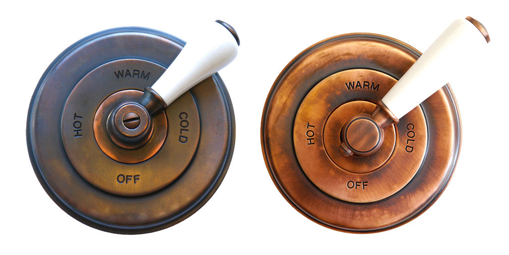 The Classic London concealed shower valve in French copper and weathered copper from Chadder & Co.