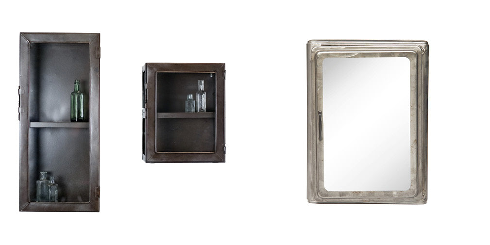 3 of the beat metal and glass industrial style bathroom cabinets.