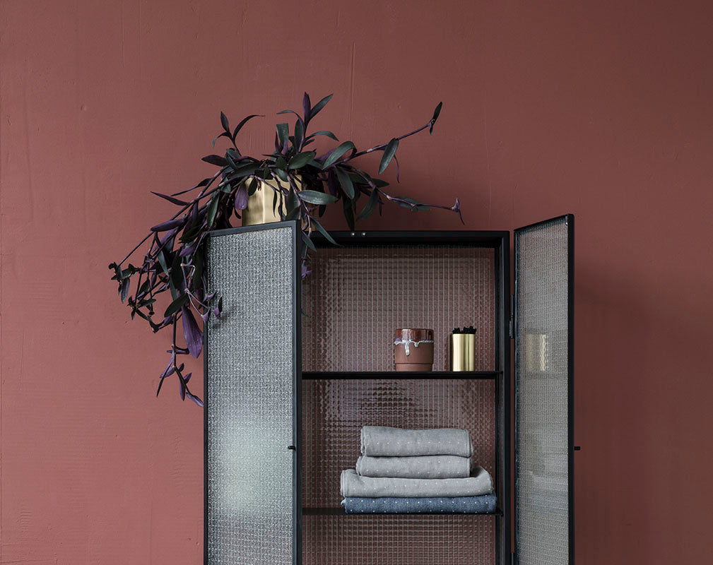 Glass and metal industrial style bathroom cabinet from Ferm Living.