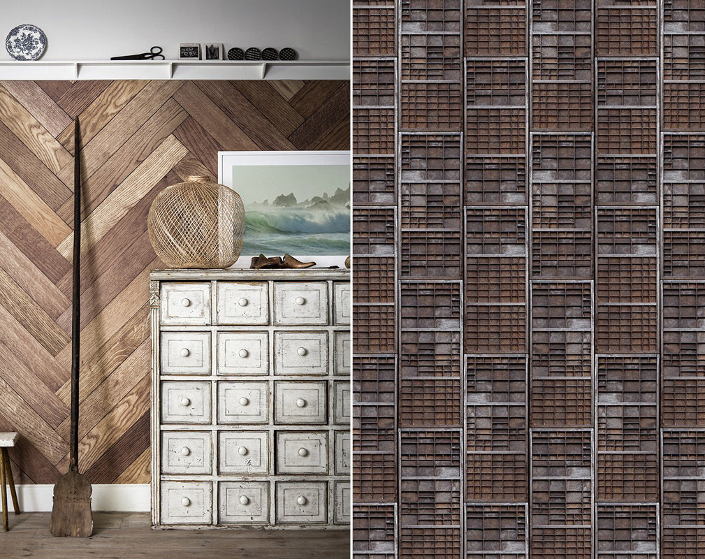 Parquet and letterpress wall mural from Surface View.