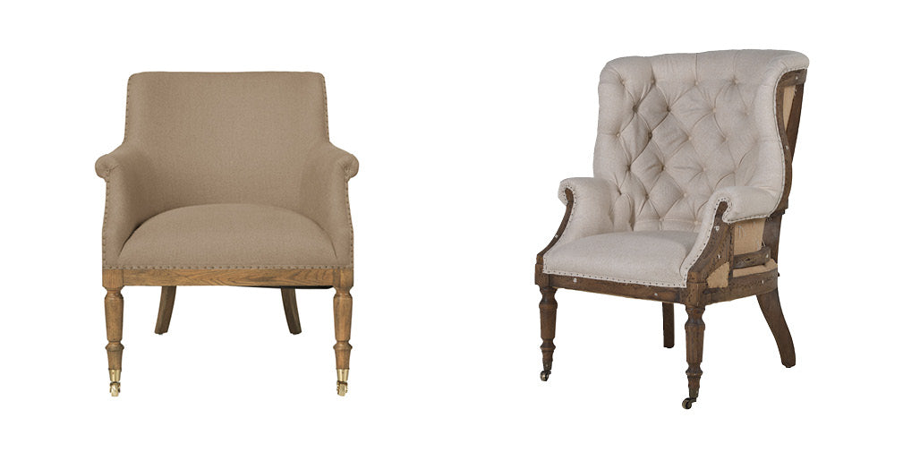A pair of contemporary deconstructed armchairs