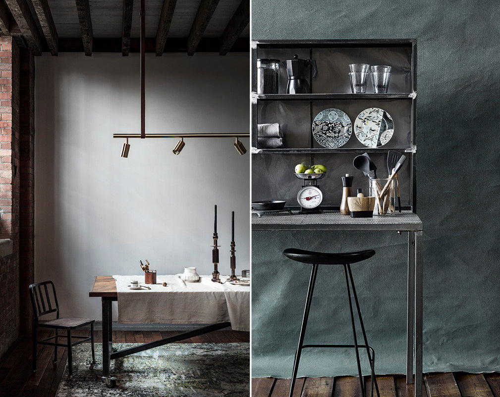 Freestanding luxe industrial kitchen and dining schemes by Warehouse Home.