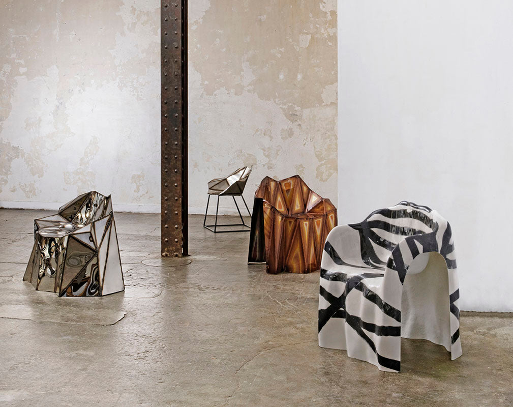 Origami Mirror Furniture by Julian Mayor for Armel Soyer Gallery.