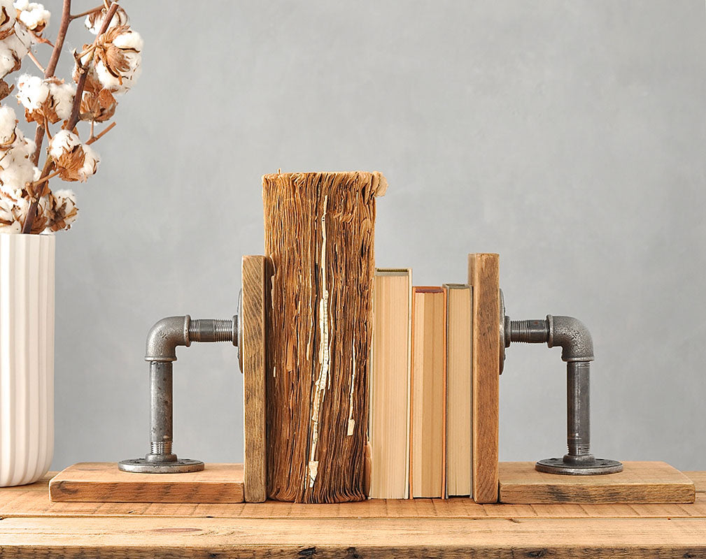 Pair Of Industrial Wood And Steel Bookends From MoA Design.