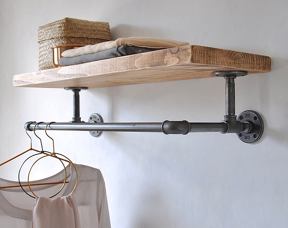 Industrial style shelving and clothing rail by MoA Design.