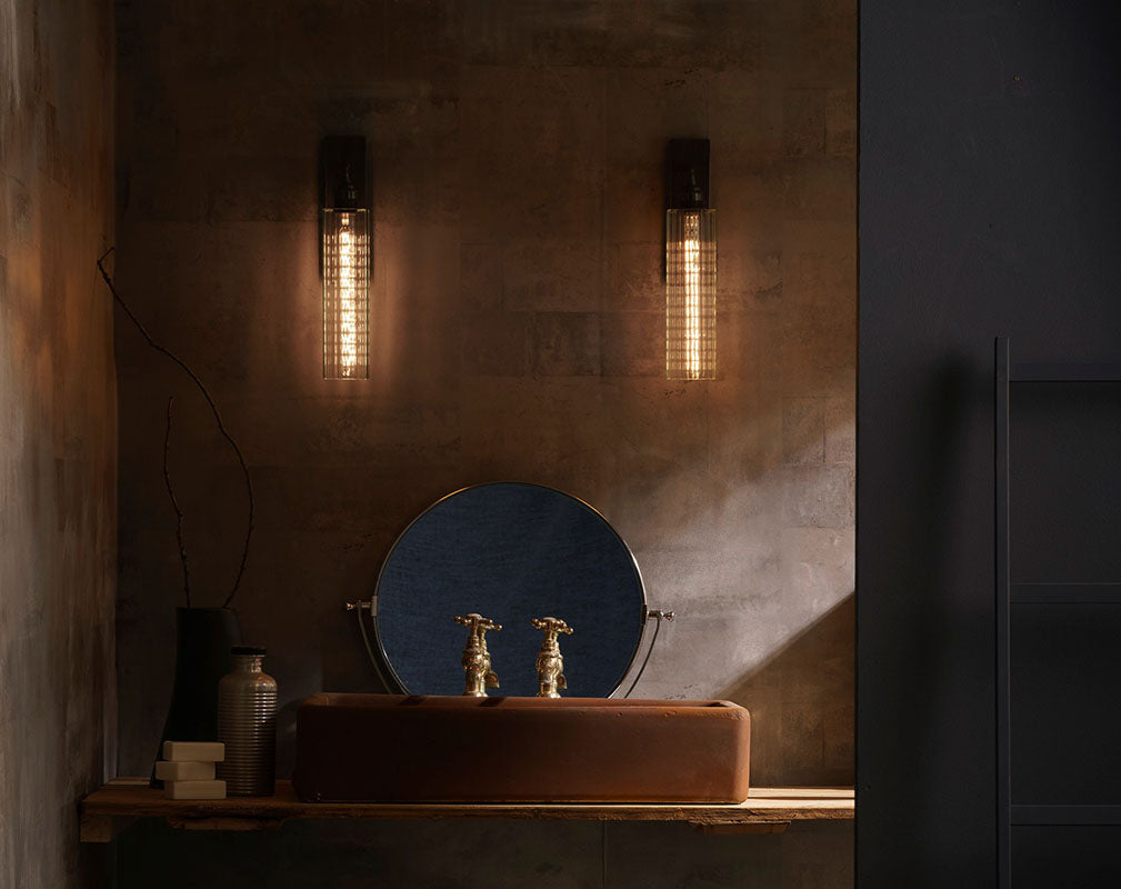 Modern alchemy luxury bathroom lighting from the light yard a pair of reeded glass decorative wall lamps from the light yard aloadofball Images