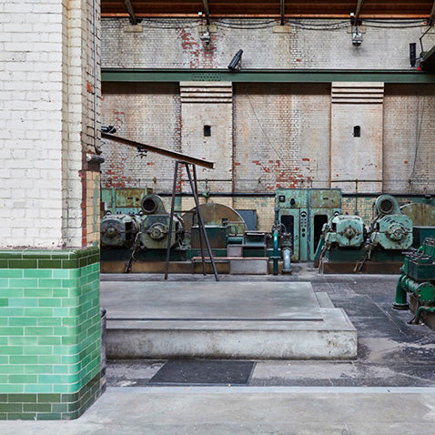interior of abandoned wapping hydraulic power station