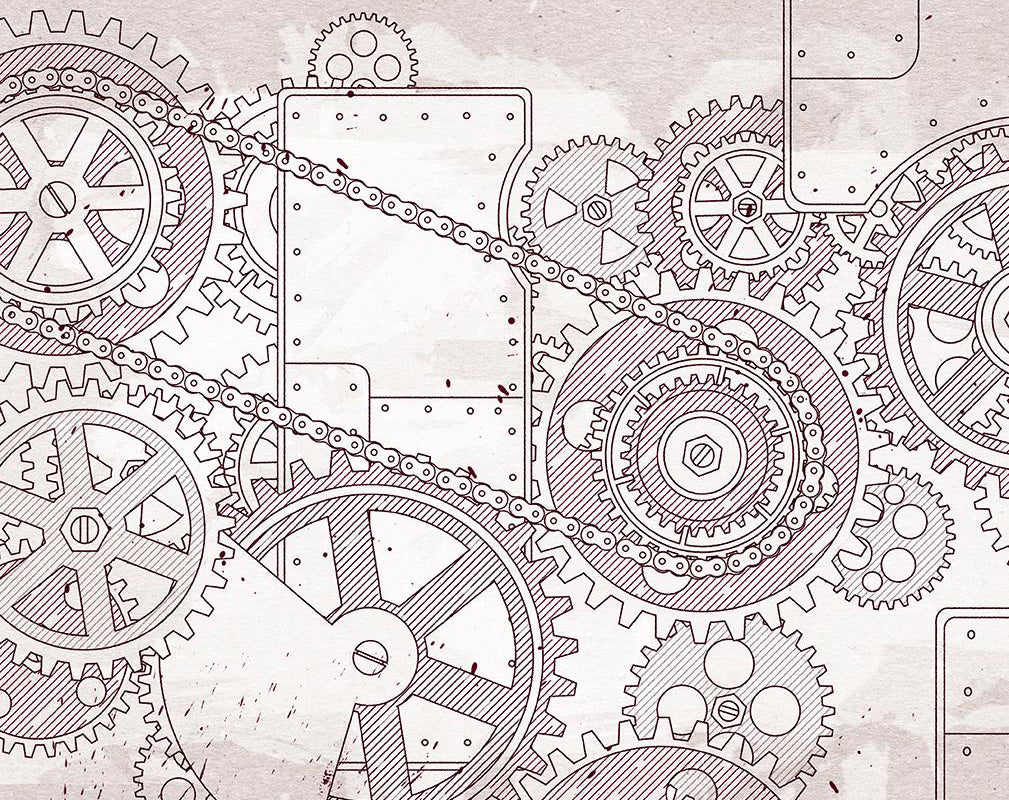 steampunk stenciled wall covering in red featuring cogs and machinery parts.