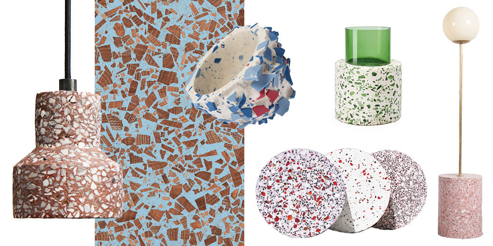 6 trending terrazzo inspired homeware and interior designs.